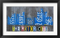 Framed Detriot City Skyline License Plate