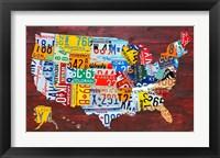 Framed USA Map I