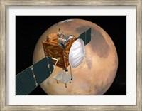 Framed Mars Telecommunications Orbiter in Flight around Mars