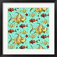 Framed Yellow Angel Fish And Clownfish - Teal
