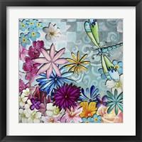 Framed Aqua Brown Background Floral