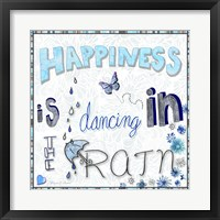 Framed Happiness Is Dancing In The Rain - Colored In 2