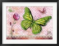Framed Green Yellow Butterfly 1
