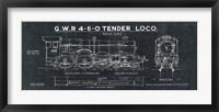 Framed Train Blueprint III Black