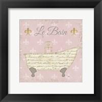 Framed Vintage Bath VI Fleur Pink