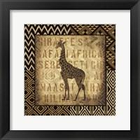 Framed African Wild Giraffe Border