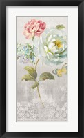Framed Textile Floral Panel I