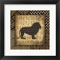 African Wild Lion Border Framed Print