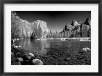 Framed California Yosemite Valley view from the bank of Merced River