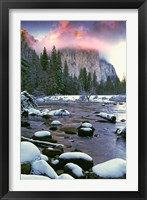 Framed Winter snow, Merced River