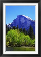 Framed View of Half Dome rock and Merced River, Yosemite National Park, California