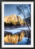 Framed Yosemite Falls reflection in Merced River, Yosemite, California