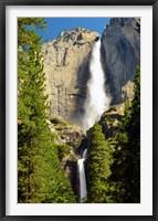 Framed Upper and Lower Yosemite Falls, Merced River, Yosemite NP, California