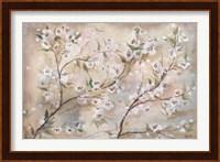 Framed Cherry Blossoms Taupe Landscape