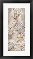 Cherry Blossoms Taupe Panel I Framed Print