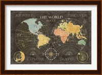 Framed Old World Journey Map Black