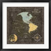 Framed Old World Journey Map Black I