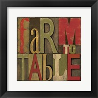 Printers Block Farm To Table I Framed Print