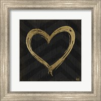 Framed Chevron Sentiments Gold Heart Trio II