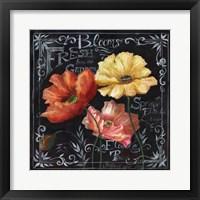 Flowers in Bloom Chalkboard II Framed Print