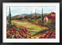 Framed Tuscan Poppy Landscape