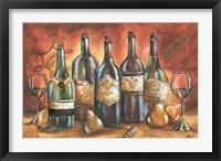 Framed Red and Gold Wine Landscape