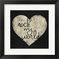 Graffiti Heart Black/Cream I Framed Print