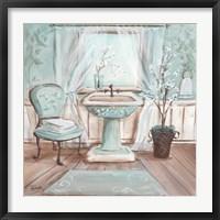 Framed Aqua Blossom Bath I