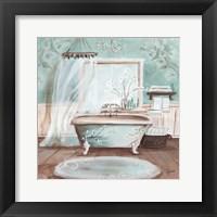 Framed Aqua Blossom Bath II