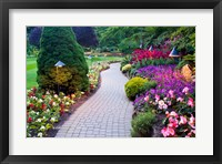 Framed Path and Flower Beds in Butchart Gardens, Victoria, British Columbia, Canada