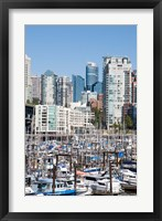 Framed Marina on False Creek, Downtown Vancouver, BC, Canada