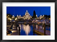 Framed Canada, British Columbia, Victoria, Inner Harbor at Dusk