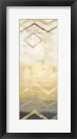 Framed Abstract Waves Black/Gold Panel I