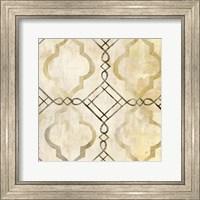 Framed Abstract Waves Black/Gold Tiles I