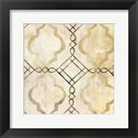 Framed Abstract Waves Black/Gold Tiles I