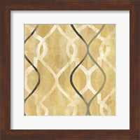 Framed Abstract Waves Black/Gold Tiles II