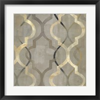 Framed Abstract Waves Black/Gold Tiles III