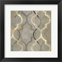Abstract Waves Black/Gold Tiles III Framed Print