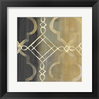 Framed Abstract Waves Black/Gold Tiles IV