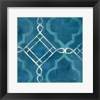 Abstract Waves Blue/Gray Tiles I Framed Print