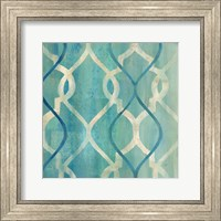 Framed Abstract Waves Blue/Gray Tiles II