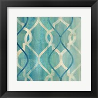 Abstract Waves Blue/Gray Tiles II Framed Print