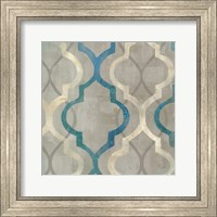 Framed Abstract Waves Blue/Gray Tiles III