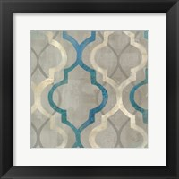 Abstract Waves Blue/Gray Tiles III Framed Print