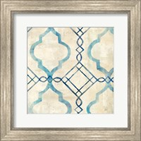 Framed Abstract Waves Blue/Gray Tiles IV