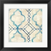 Abstract Waves Blue/Gray Tiles IV Framed Print