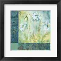 Framed White Poppy Garden I