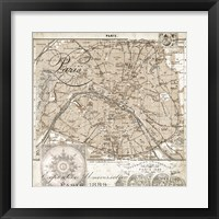 Euro Map I - Paris Framed Print