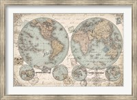 Framed World Hemispheres