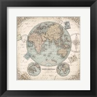 Framed World Hemispheres I